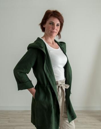Dark green linen summer jacket with a hood