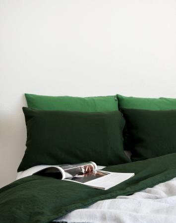 Dark green washed linen duvet cover