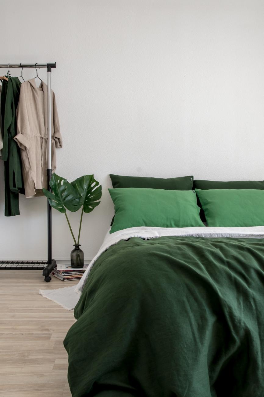 Dark Green Washed Linen Duvet Cover Linen Boutique