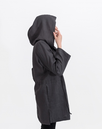 Dark grey linen duster with a hood
