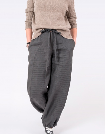 Dark grey loose linen pants