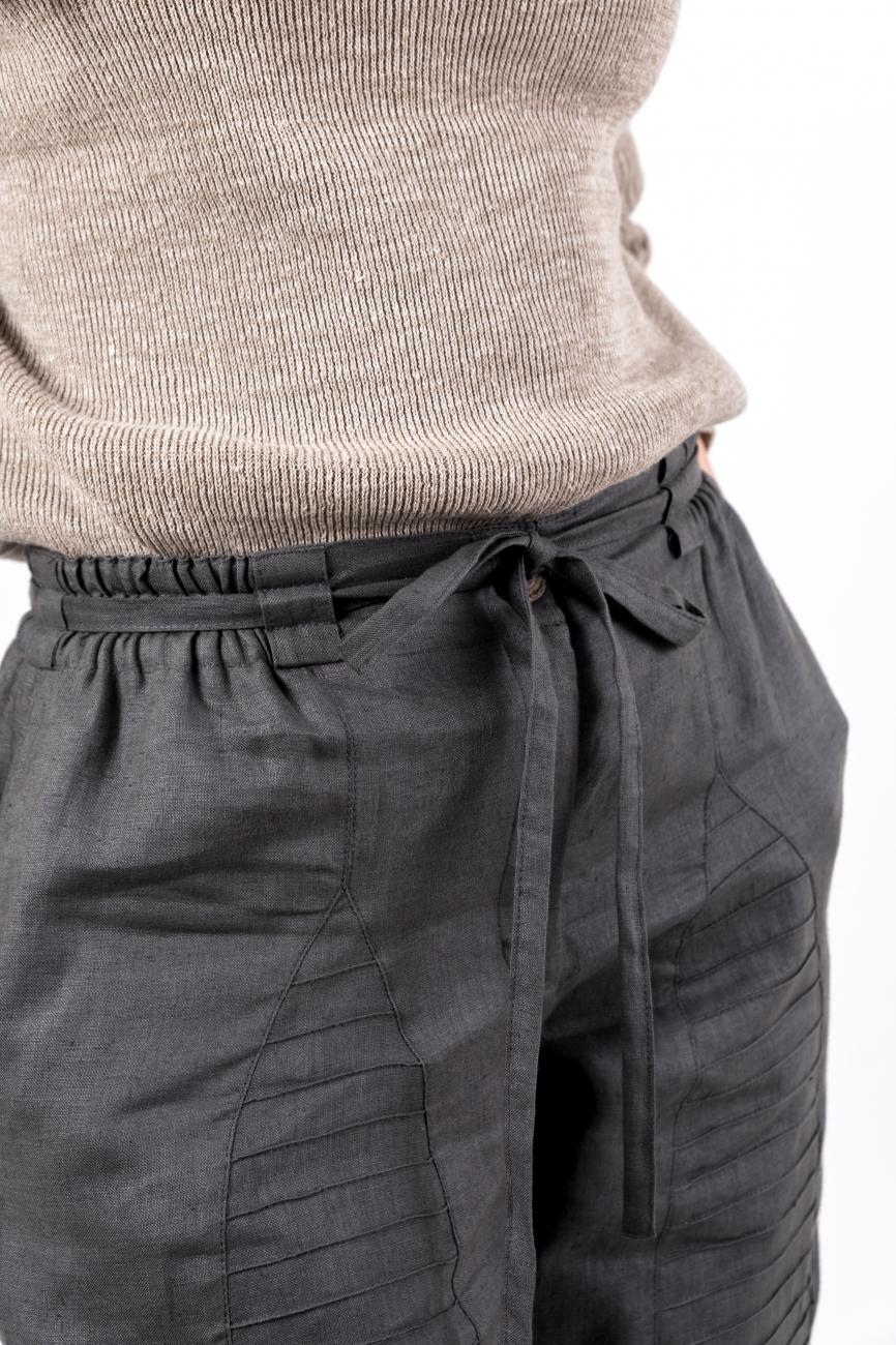Dark grey loose linen pants