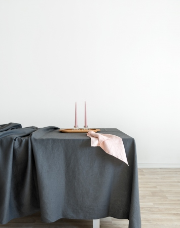 Dark grey washed linen tablecloth