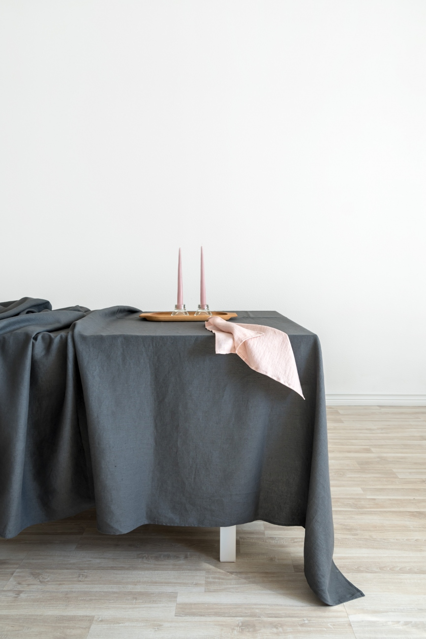Dark grey washed linen tablecloth