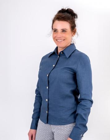 Denim blue button-up linen shirt for women