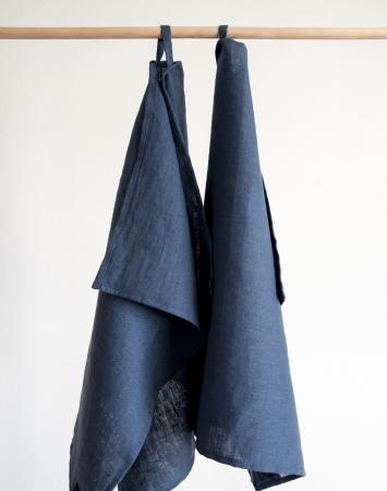 Denim blue linen kitchen towels