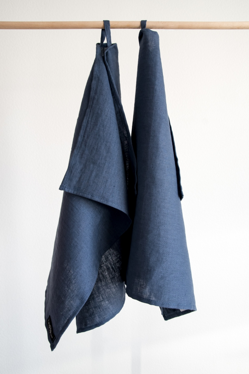 Denim blue linen kitchen towels