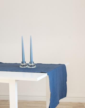Denim blue linen table runner