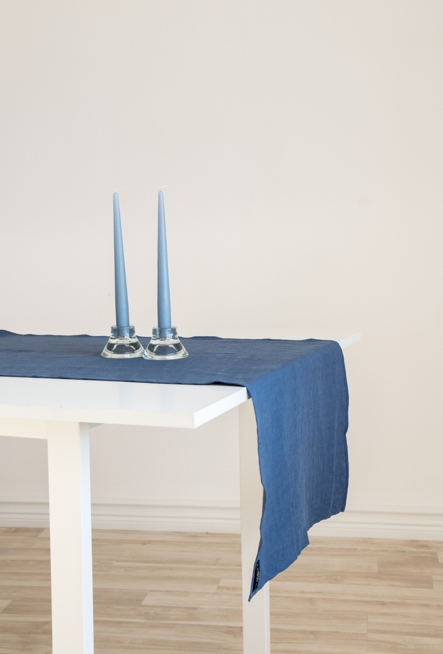 Denim blue linen table runner