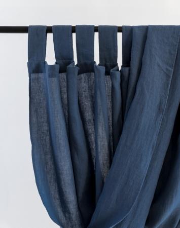 Denim blue tab top linen curtain