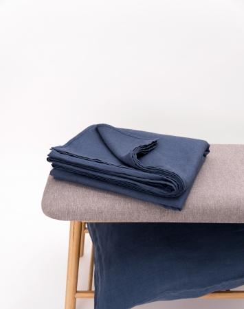 Denim blue washed flat linen