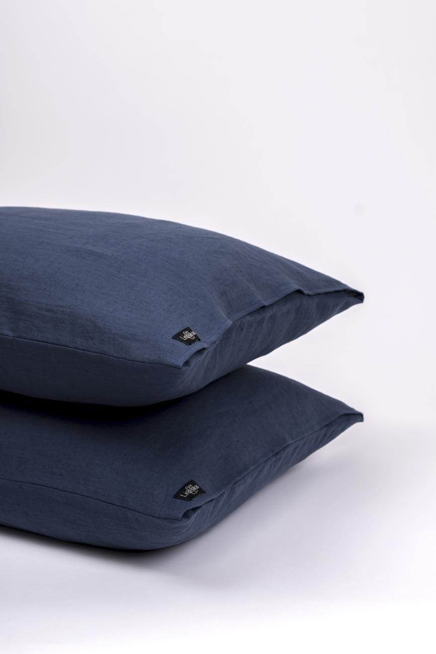 Denim blue washed linen pillowcase