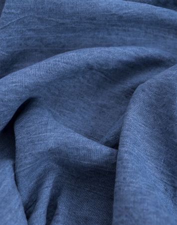 Denim washed linen fabric