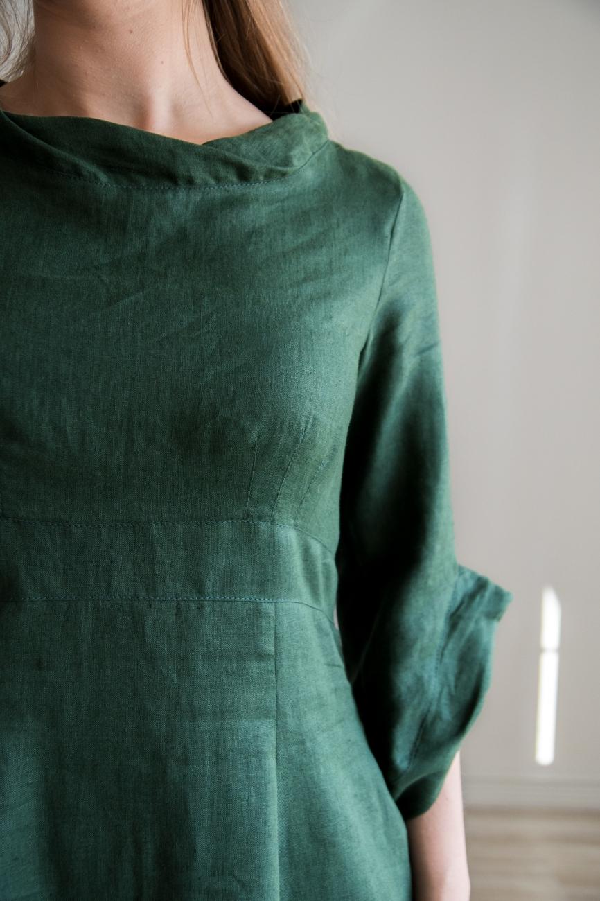 Elegant dark green linen dress
