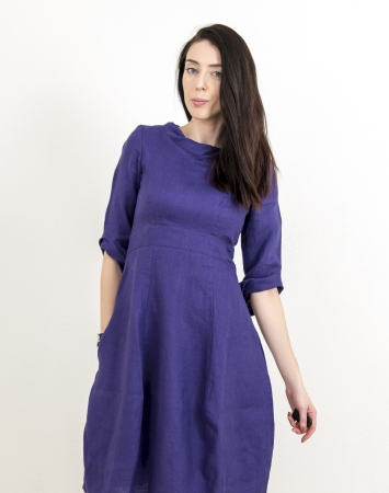 Elegant purple linen dress