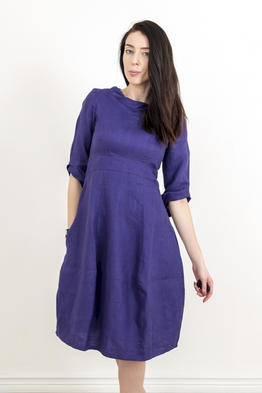 Elegant purple linen dress