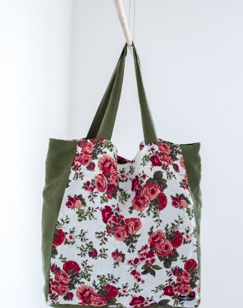 Floral linen shopper bag with colored accents