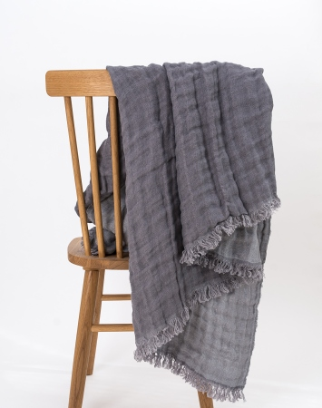 Gey linen throw blanket