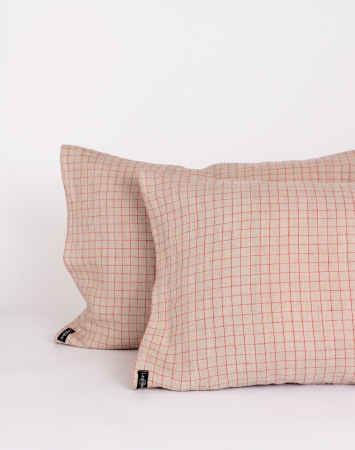 Graph check linen pillowcase