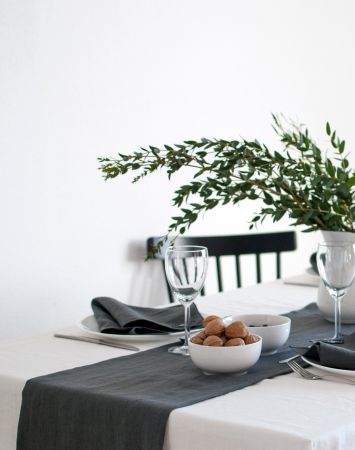 Graphite grey linen table runner