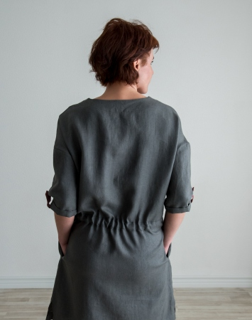 Graphite grey linen tunic dress
