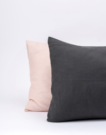 Graphite grey washed linen pillowcase