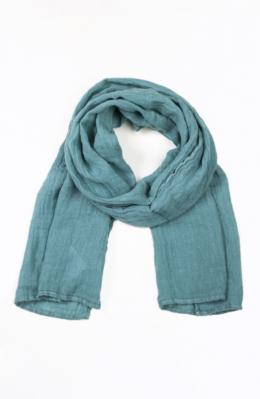 Green teal linen scarf