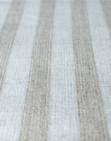 Grey & white linen with bengal stripe pattern