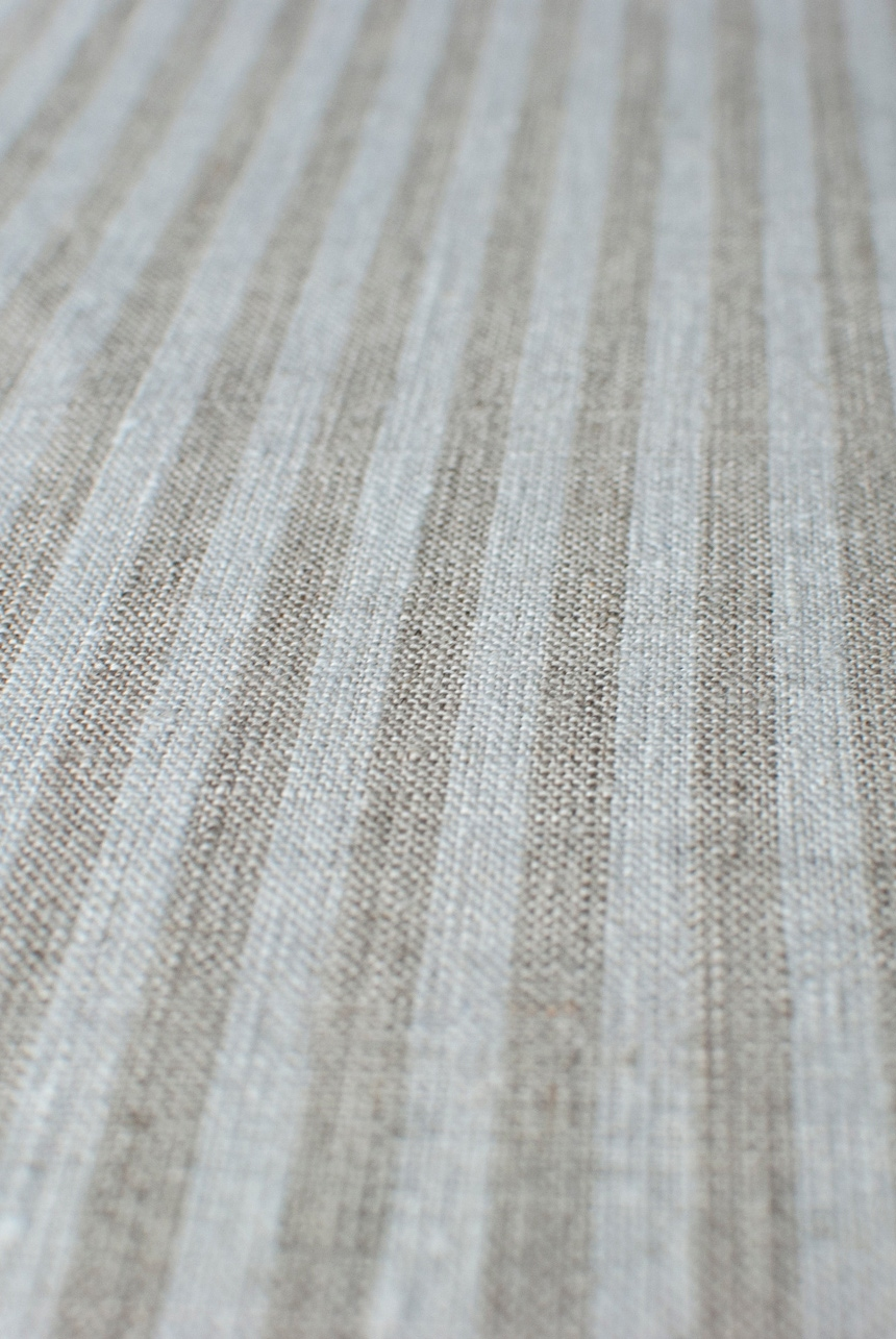 Grey & white linen with candy stripe pattern