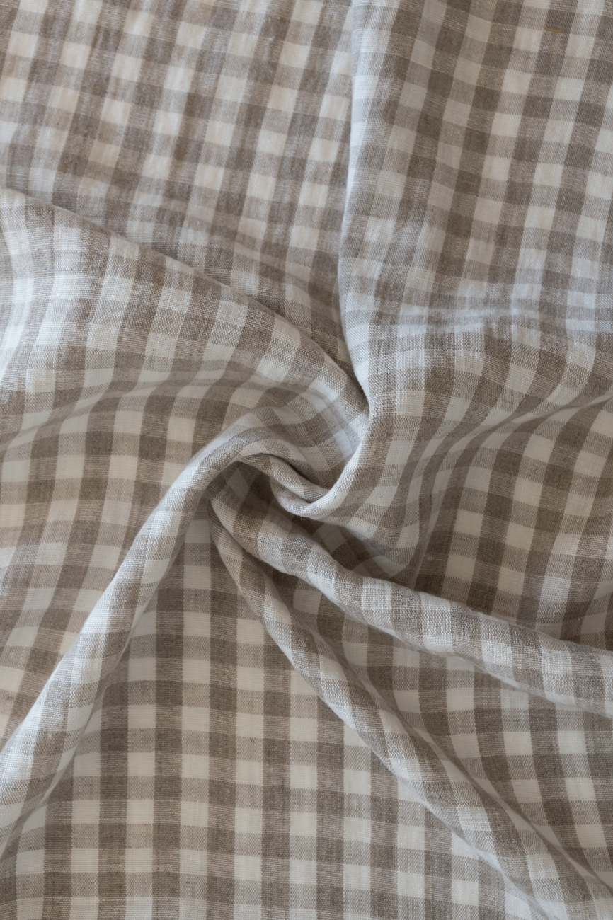 Grey & white linen with gingham pattern