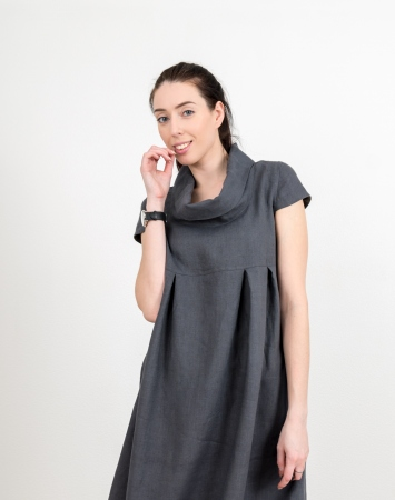 Grey linen dress with cowl neckline