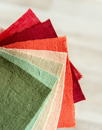 Heavy, colored linen fabric swatches