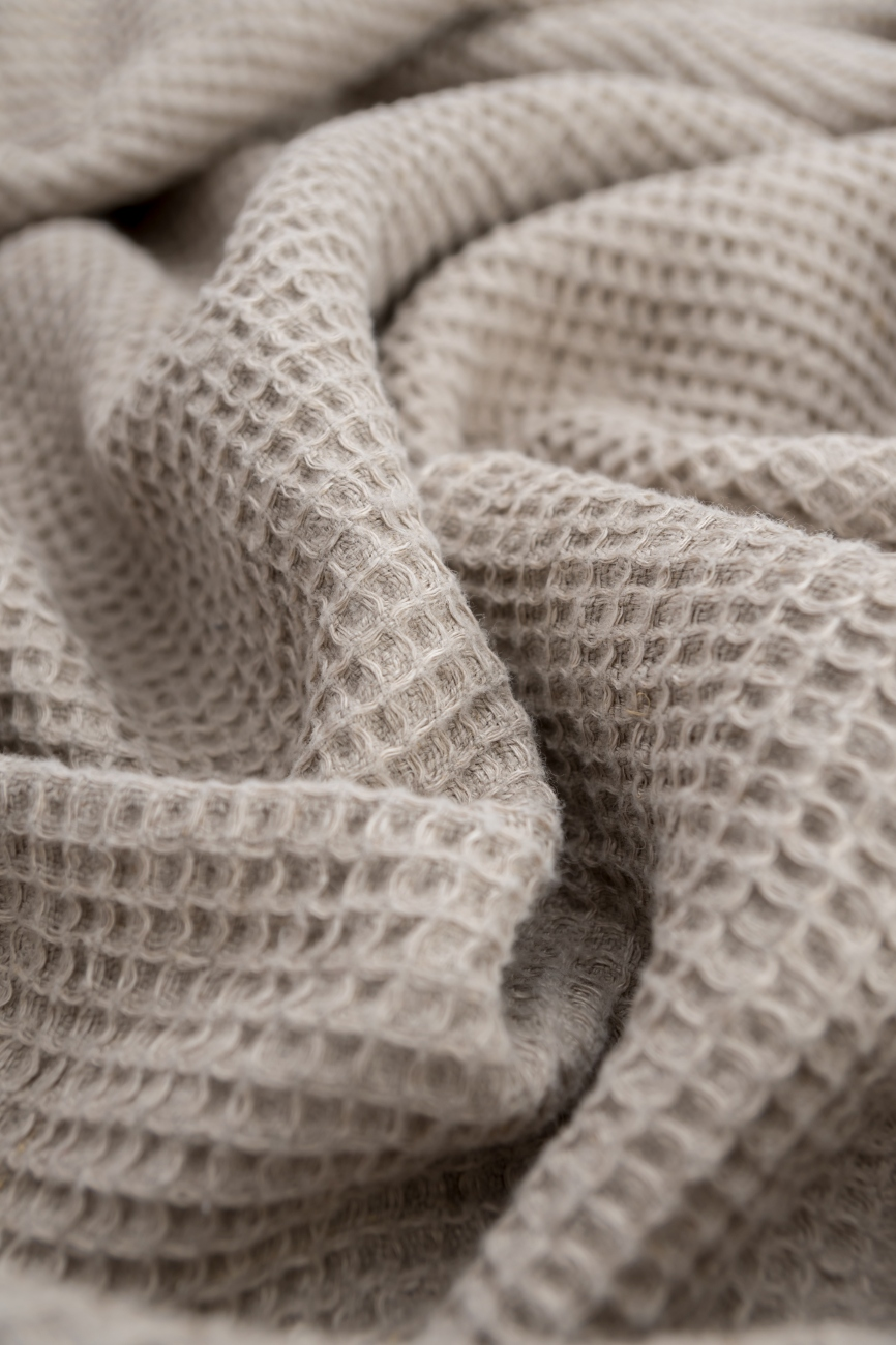 Heavy washed waffle linen fabric