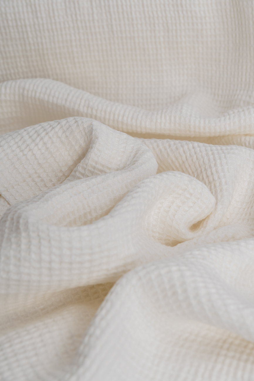 Heavy washed waffle linen in off-white
