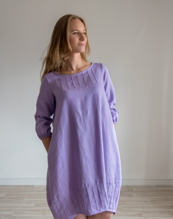 Lavender balloon shape dress from linen
