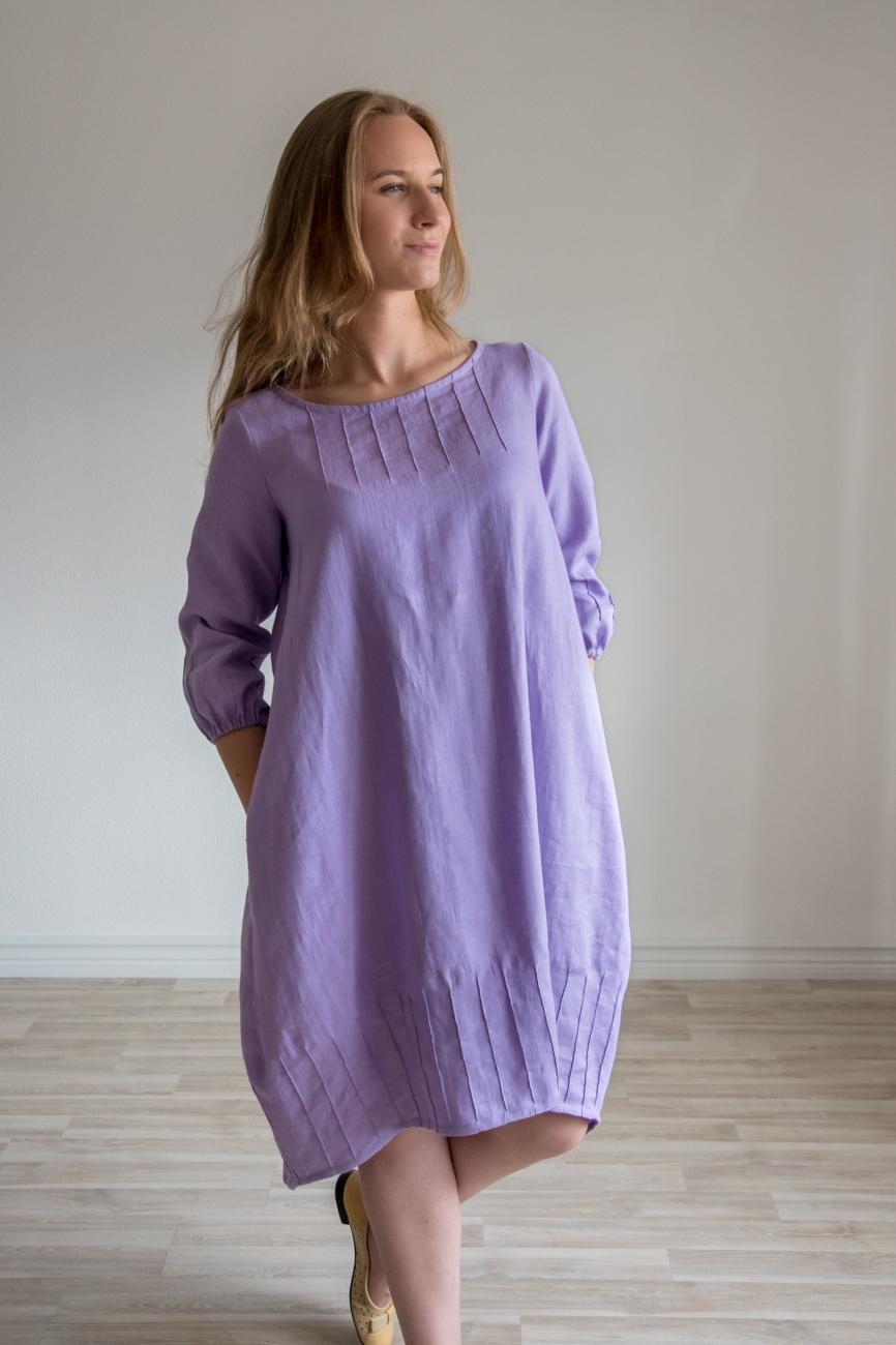 Lavender balloon shape dress from linen