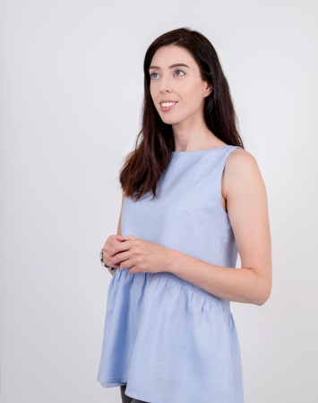Light blue sleeveless frill linen top