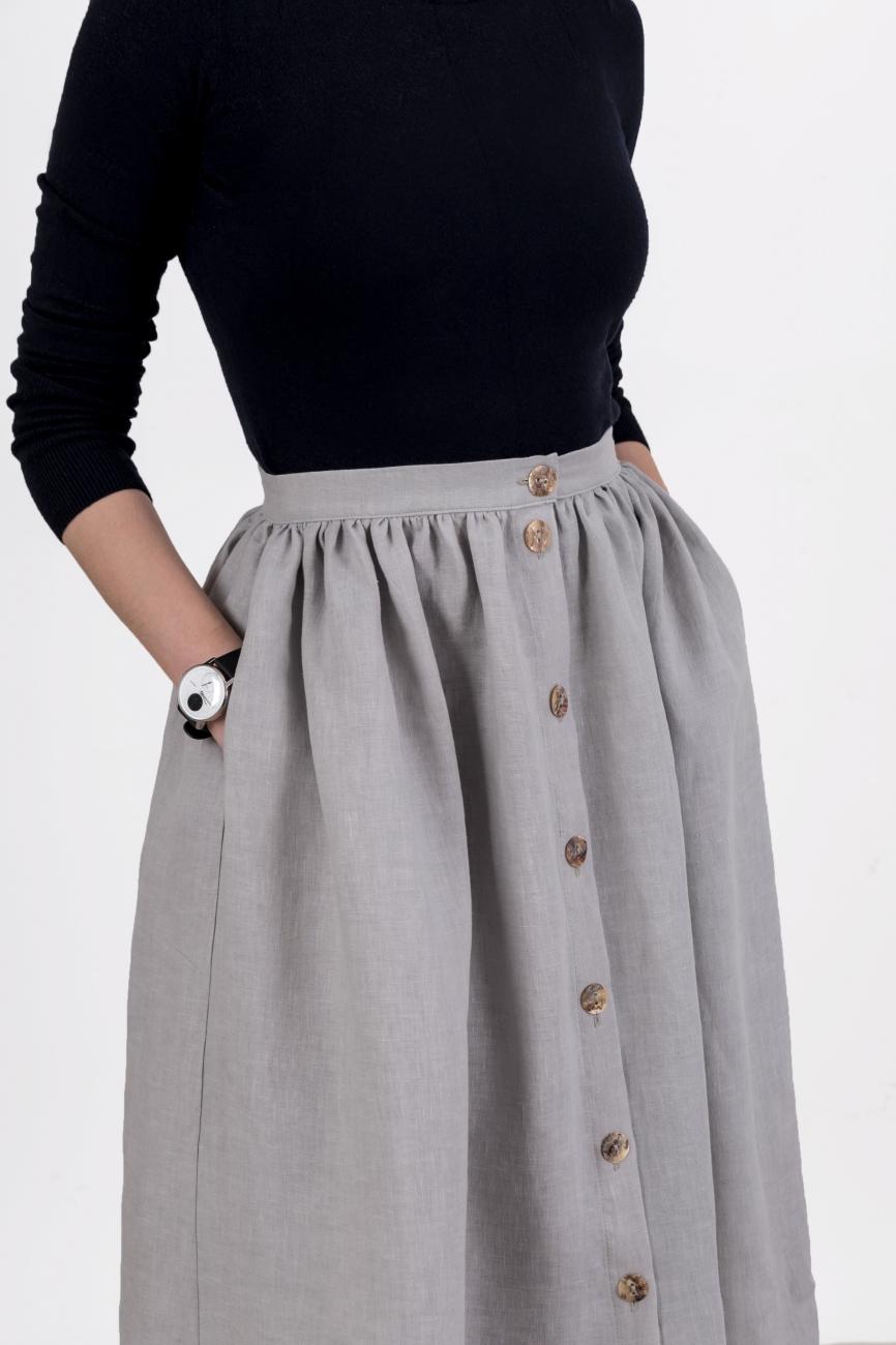 Light grey button midi skirt