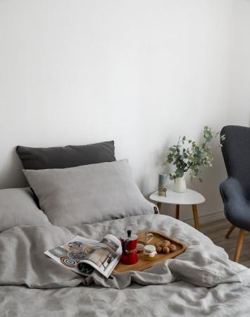 Light grey linen bedding set