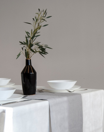 Light grey linen table runner