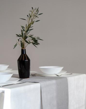 Light grey linen table runner