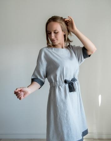 Light grey relaxed fit linen dress