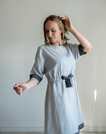 Light grey relaxed fit linen dress
