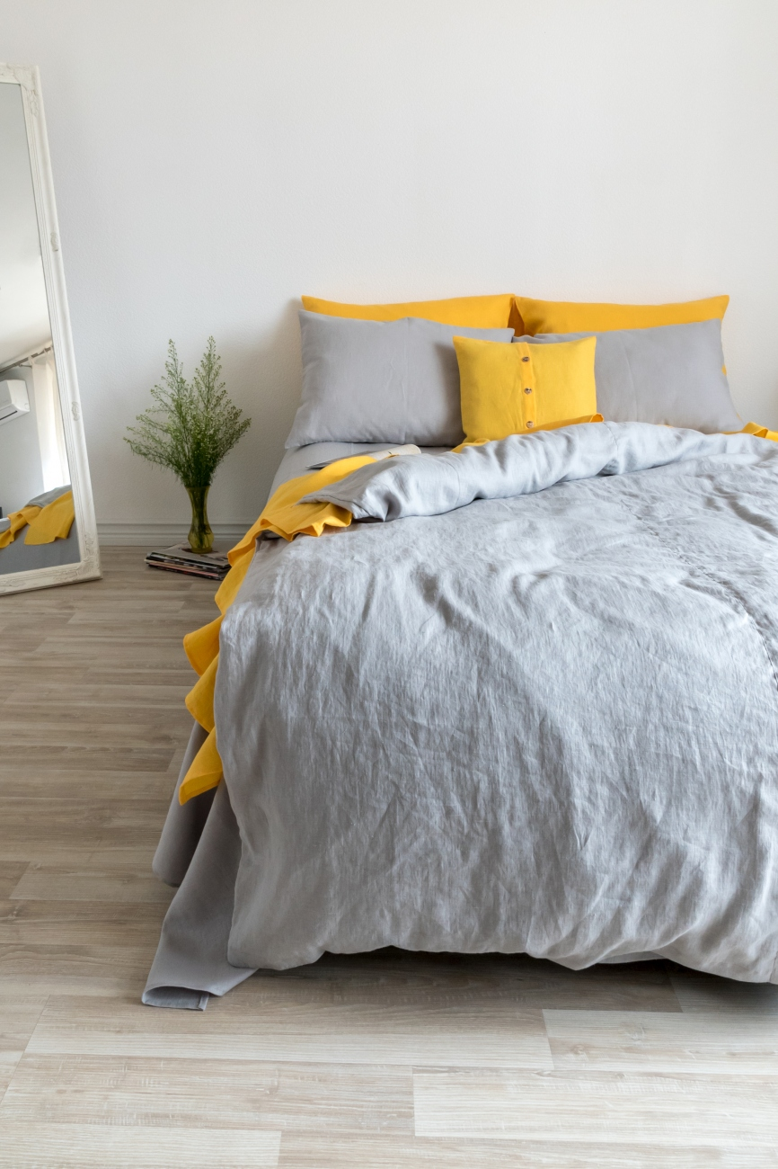 Light grey washed linen duvet cover with buttons