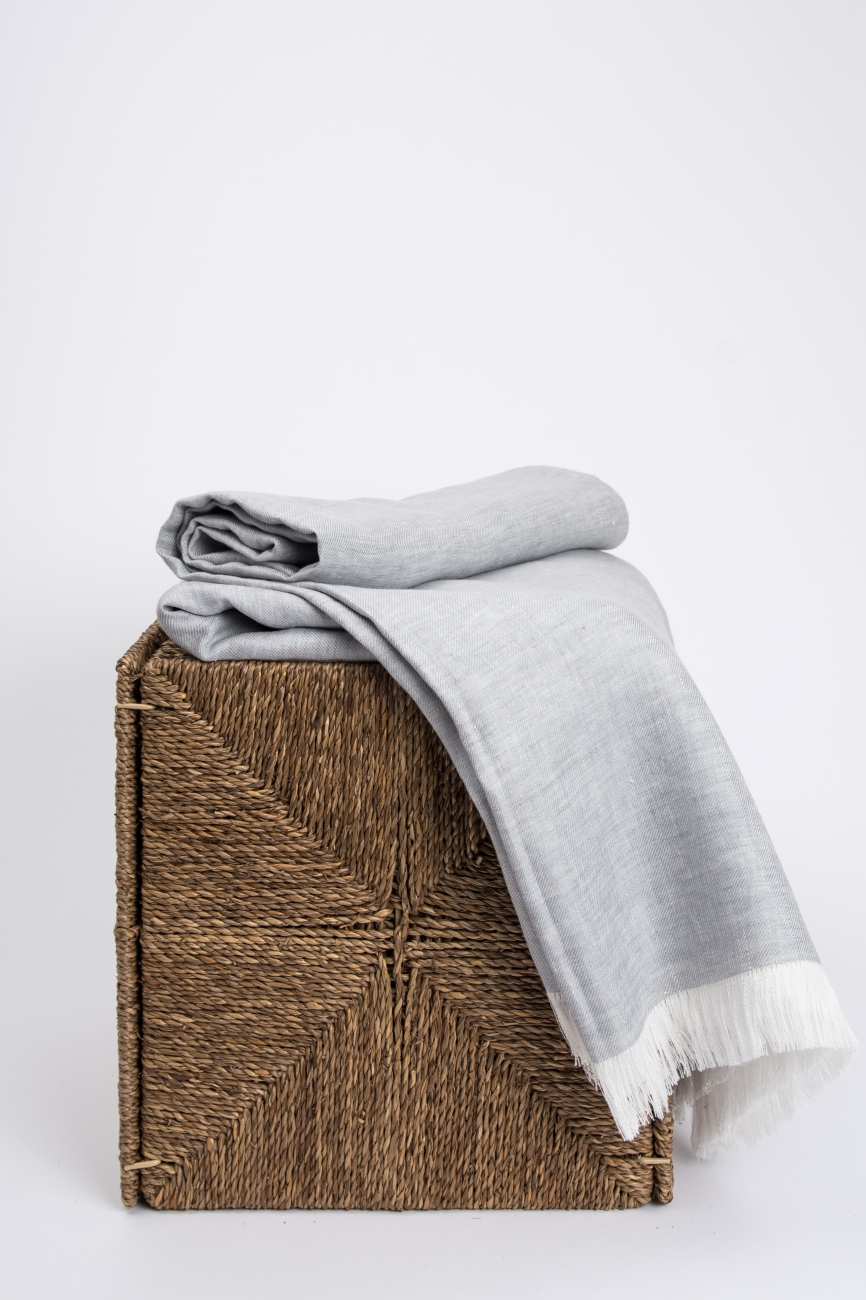 Light grey washed linen melange throw with frayed ends