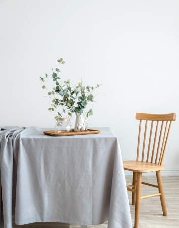 Light grey washed linen tablecloth