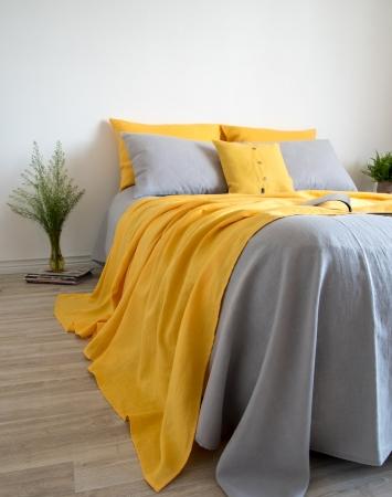 Light grey washed linen top sheet