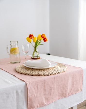 Light pink linen table runner