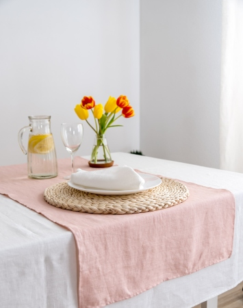 Light pink linen table runner