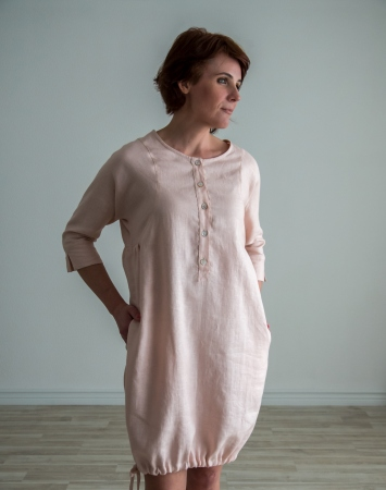 Light pink linen tunic dress